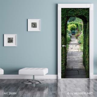 """Türtapete """"Hecke, Durchgang, Torbogen"""", Türposter, selbstklebend 2050 x 880 mm"""