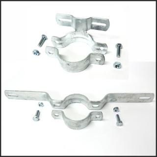 Schild, Befestigung, Halterung, Schelle, Schilderschelle für Rundrohr, Rohrschelle, Ø 60 mm Rohr Stahl verzinkt