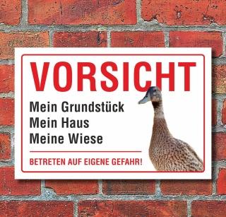 """Schild """"Vorsicht, Ente, betreten verboten, lustig"""" 3mm Alu-Verbund"""