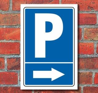 """Schild """"Parkplatz mit Pfeil, rechts"""""""