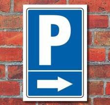 """Schild """"Parkplatz mit Pfeil, rechts"""", 450 x 300 mm"""