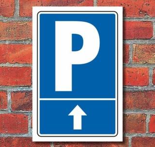 """Schild """"Parkplatz mit Pfeil, geradeaus"""""""