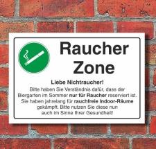 Schild Raucherzone, Biergarten, 3 mm Alu-Verbund