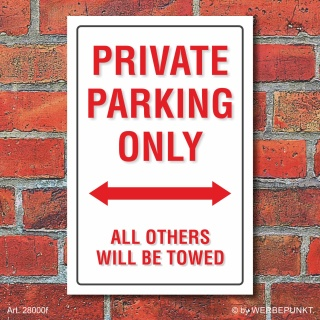 Schild American Style Deko Private parking Parkverbot