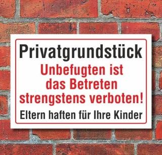 Schild Privatgrundstück, Unbefugten ist das Betreten..., 3 mm Alu-Verbund  300 x 200 mm