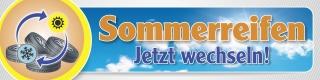PVC Werbebanner Banner Plane Sommerreifen Reifenwechsel Rad Räder, mit Ösen