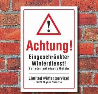 """Schild """"Eingeschränkter Winterdienst, deutsch & englisch"""""""