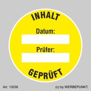 Prüfplaketten Inhalt geprüft, gelb, Ø 30 mm