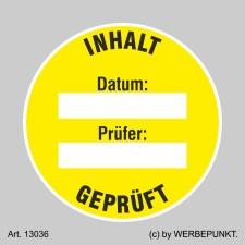 Prüfplaketten Inhalt geprüft, gelb, Ø 40 mm