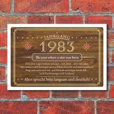 Schild Retro Vintage Geburtstag 40 40er vierzig Jahrgang...