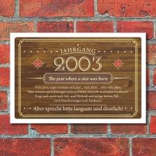 Schild Retro Vintage Geburtstag 20 20er zwanzig Jahrgang...