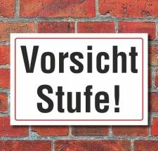 Schild Vorsicht Stufe, 3 mm Alu-Verbund  300 x 200 mm
