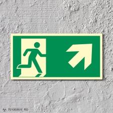 4. Rettungsweg Rechts aufwärts - Schild 300 x 150 mm