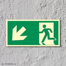 8. Rettungsweg Links abwärts - Schild 300 x 150 mm