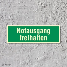12. Notausgang freihalten  - Schild 300 x 100 mm