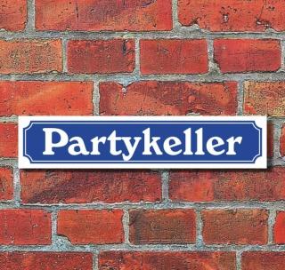"""Schild im Straßenschild-Design """"Partykeller"""" - 3 mm Alu-Verbund - 52 x 11 cm"""
