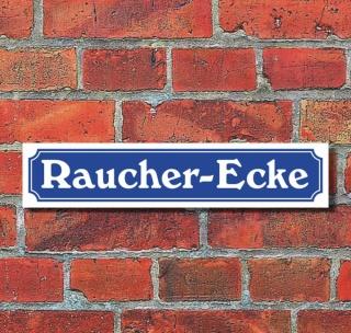 """Schild im Straßenschild-Design """"Raucher-Ecke"""" - 3 mm Alu-Verbund - 52 x 11 cm"""