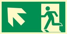 Rettungsweg links aufwärts Notausgang...