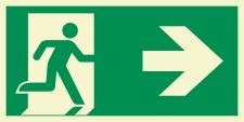 Rettungsweg rechts  Schild Nachleuchtend  300 x 150 mm