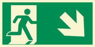 Rettungsweg rechts abwärts Notausgang Rettungswegschild Schild Nachleuchtend ASR A1.3