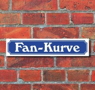 """Schild im Straßenschild-Design """"Fan-Kurve"""" - 3 mm Alu-Verbund - 52 x 11 cm"""