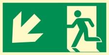 Rettungsweg links abwärts  Schild Nachleuchtend  300...