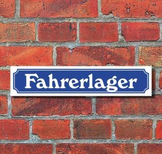 """Schild im Straßenschild-Design """"Fahrerlager"""" - 3 mm Alu-Verbund - 52 x 11 cm"""