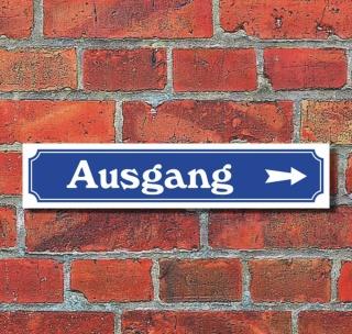 """Schild im Straßenschild-Design """"Ausgang rechts"""" - 3 mm Alu-Verbund - 52 x 11 cm"""