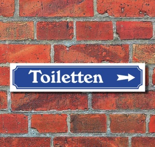 """Schild im Straßenschild-Design """"Toiletten rechts"""" - 3 mm Alu-Verbund - 52 x 11 cm"""