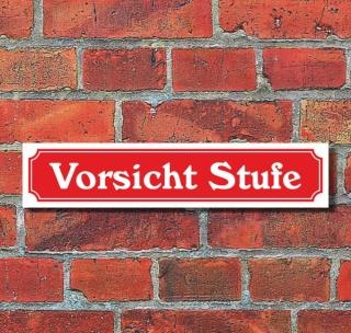 """Schild im Straßenschild-Design """"Vorsicht Stufe"""" - 3 mm Alu-Verbund - 52 x 11 cm"""