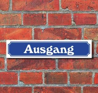 """Schild im Straßenschild-Design """"Ausgang"""" - 3 mm Alu-Verbund - 52 x 11 cm"""