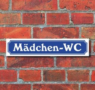 """Schild im Straßenschild-Design """"Mädchen-WC"""" - 3 mm Alu-Verbund - 52 x 11 cm"""