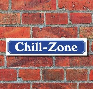 """Schild im Straßenschild-Design """"Chill-Zone"""" - 3 mm Alu-Verbund - 52 x 11 cm"""