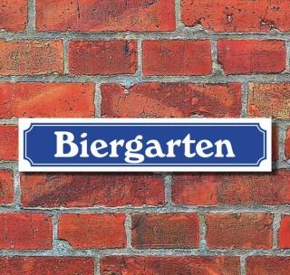 """Schild im Straßenschild-Design """"Biergarten"""" Schrift normal, 3 mm Alu-Verbund - 52 x 11 cm"""