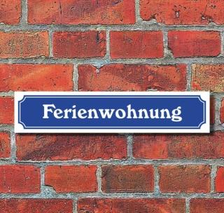 """Schild im Straßenschild-Design """"Ferienwohnung"""", 3 mm Alu-Verbund - 52 x 11 cm"""
