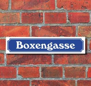 """Schild im Straßenschild-Design """"Boxengasse"""", 3 mm Alu-Verbund - 52 x 11 cm"""