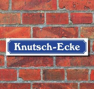 """Schild im Straßenschild-Design """"Knutsch-Ecke"""", 3 mm Alu-Verbund - 52 x 11 cm"""