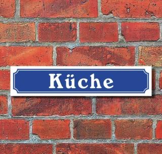 """Schild im Straßenschild-Design """"Küche"""", 3 mm Alu-Verbund - 52 x 11 cm"""