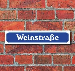 """Schild im Straßenschild-Design """"Weinstraße"""", 3 mm Alu-Verbund - 52 x 11 cm"""