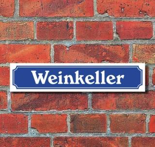 """Schild im Straßenschild-Design """"Weinkeller"""", 3 mm Alu-Verbund - 52 x 11 cm"""