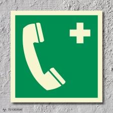 Notruftelefon Schild Nachleuchtend  150 x 150 mm