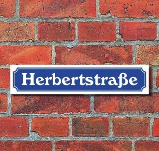 """Schild im Straßenschild-Design """"Herbertstraße"""", 3 mm Alu-Verbund - 52 x 11 cm"""