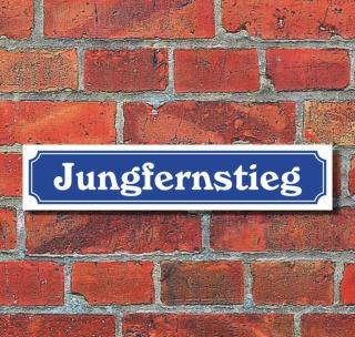 """Schild im Straßenschild-Design """"Jungfernstieg"""", 3 mm Alu-Verbund - 52 x 11 cm"""