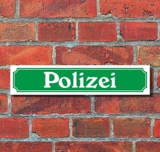 """Schild im Straßenschild-Design """"Polizei"""", grün, 3 mm Alu-Verbund - 52 x 11 cm"""