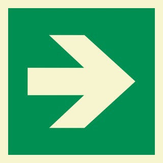 Pfeil 90° Rettungszeichen Rettungswegschild Schild Nachleuchtend ASR A1.3