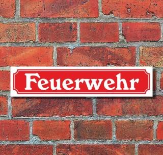 """Schild im Straßenschild-Design """"Feuerwehr"""", 3 mm Alu-Verbund - 52 x 11 cm"""