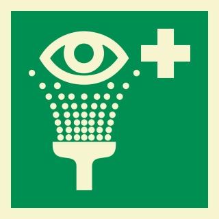 Augenspüleinrichtung Rettungszeichen Rettungswegschild Aufkleber Nachleuchtend ASR A1.3