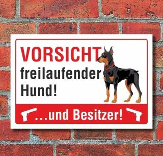 Schild Achtung Vorsicht freilaufender Hund Besitzer Warnschild Alu-Verbund