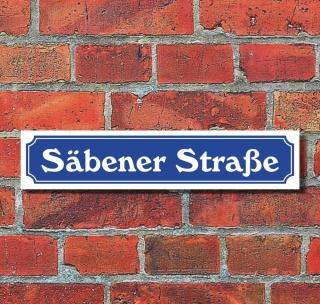 """Schild im Straßenschild-Design """"Säbener Straße"""" - 3 mm Alu-Verbund - 52 x 11 cm"""