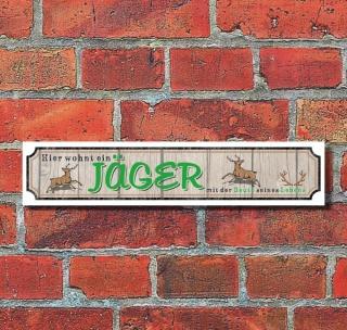 """Retro Vintage Schild Straßenschild """"Jäger"""" 52 x 11 cm Alu-Verbund"""